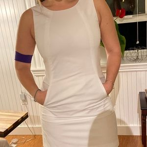 White Fitted High Neck Dress